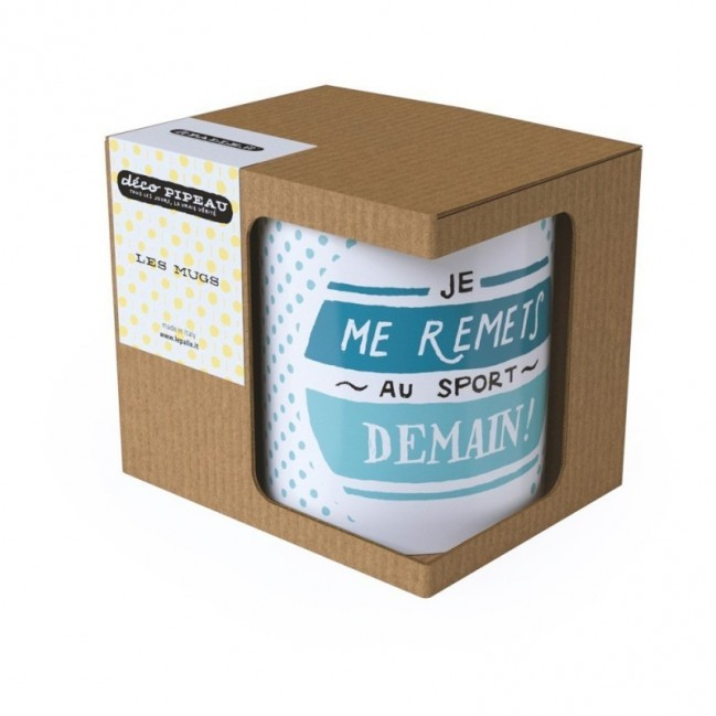 "Mug ""Je me remets au sport demain! "", tazza in ceramica"