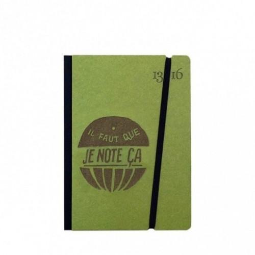 """Cahier """"il faut que je note ça"""" couverture rigide VERTE en carton naturel, format de poche SMALL, 11x15 cm"""