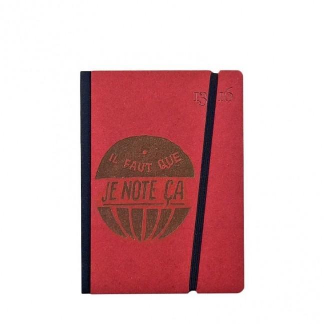 """Taccuino """"il faut que je note ça"""" copertina rigida ROSSA in cartone naturale, formato SMALL tascabile 11x15 cm"""