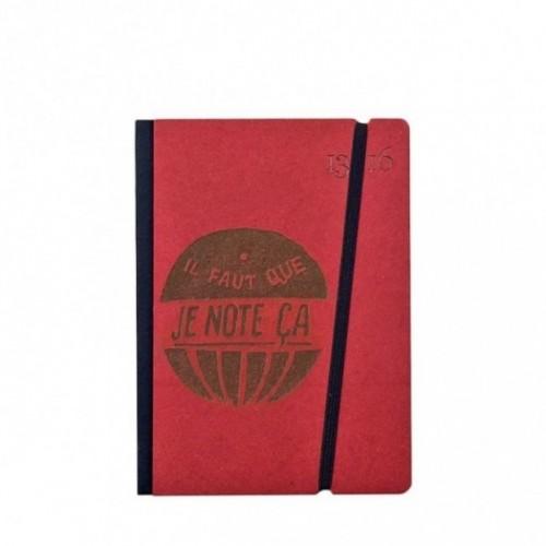 """Cahier """"il faut que je note ça"""" couverture rigide ROUGE en carton naturel, format de poche SMALL, 11x15 cm"""