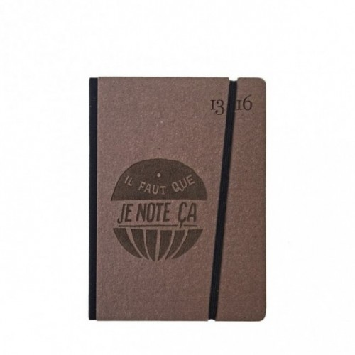 """Cahier """"il faut que je note ça"""" couverture rigide CAFE' en carton naturel, format de poche SMALL, 11x15 cm"""