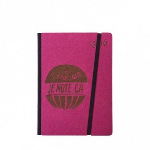 """Taccuino """"il faut que je note ça"""" copertina rigida FUCSIA in cartone naturale, formato SMALL tascabile 11x15 cm"""