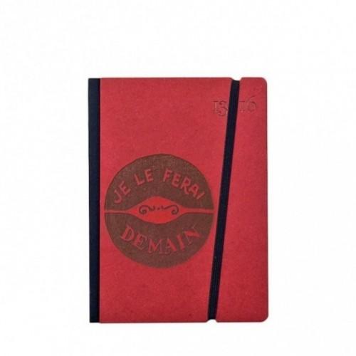"""Cahier """"Je le ferai demain"""" couverture rigide ROUGE en carton naturel, format de poche SMALL, 11x15 cm"""