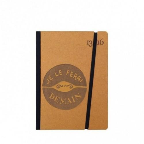 """Cahier """"Je le ferai demain"""" couverture rigide OCRE en carton naturel, format de poche SMALL, 11x15 cm"""