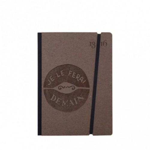 """Cahier """"Je le ferai demain"""" couverture rigide CAFE' en carton naturel, format de poche SMALL, 11x15 cm"""