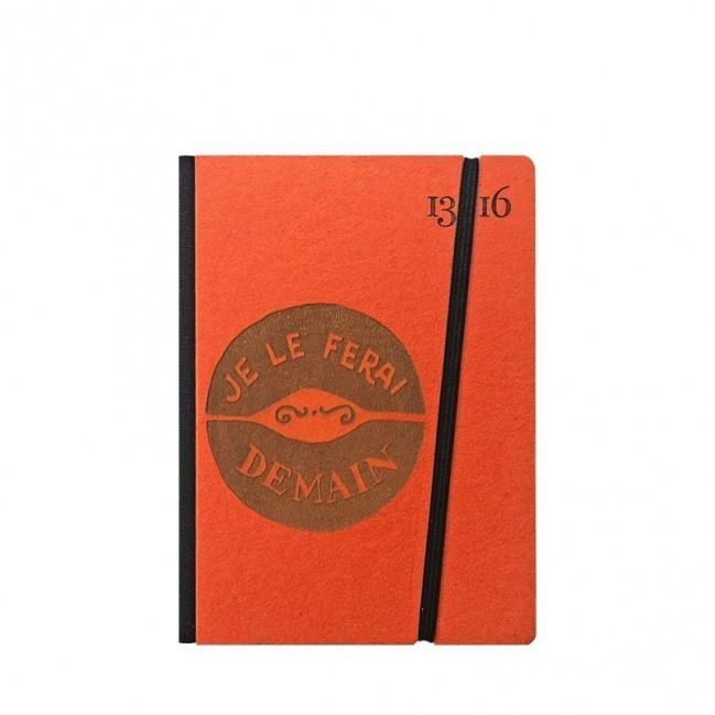 """Cahier """"Je le ferai demain"""" couverture rigide ORANGE en carton naturel, format de poche SMALL, 11x15 cm"""