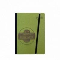 """Cahier """"J'en prends bonne note"""" couverture rigide VERTE en carton naturel, format de poche SMALL, 11x15 cm"""