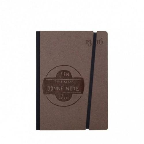 """Cahier """"J'en prends bonne note"""" couverture rigide CAFE' en carton naturel, format de poche SMALL, 11x15 cm"""