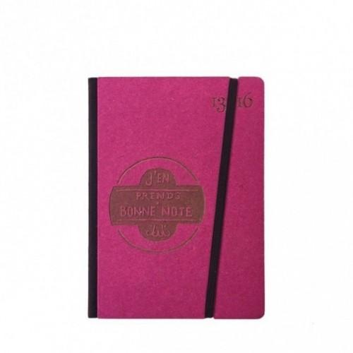 """Cahier """"J'en prends bonne note"""" couverture rigide FUCHSIA en carton naturel, format de poche SMALL, 11x15 cm"""