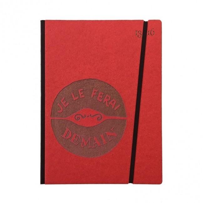 """Cahier """"Je le ferai demain"""" couverture rigide ROUGE en carton naturel, format de poche LARGE, 16x21,15 cm"""