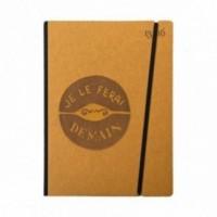 """Cahier """"Je le ferai demain"""" couverture rigide OCRE en carton naturel, format de poche LARGE, 16x21,15 cm"""