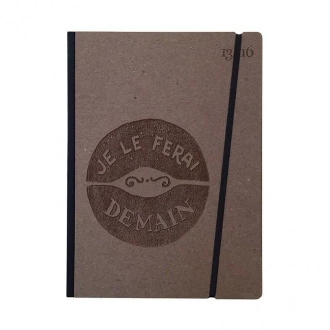 """Cahier """"Je le ferai demain"""" couverture rigide CAFE' en carton naturel, format de poche LARGE, 16x21,15 cm"""