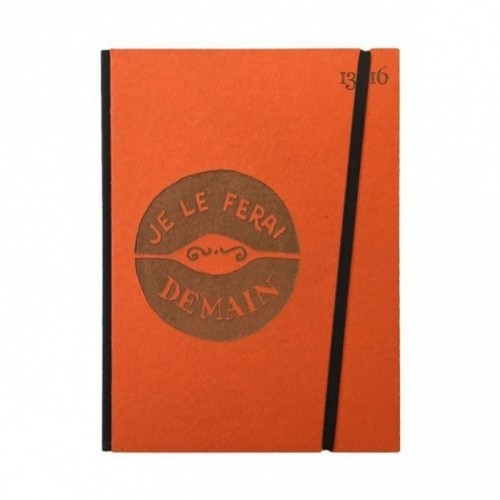 "Cahier ""Je le ferai demain"" couverture rigide ORANGE en carton naturel, format de poche LARGE, 16x21,15 cm"