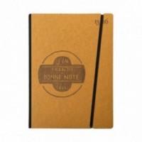 """Cahier """"J'en prends bonne note"""" couverture rigide OCRE en carton naturel, format de poche LARGE, 16x21,15 cm"""