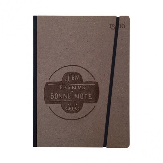 """Cahier """"J'en prends bonne note"""" couverture rigide CAFE' en carton naturel, format de poche LARGE, 16x21,15 cm"""
