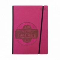 """Cahier """"J'en prends bonne note"""" couverture rigide FUCHSIA en carton naturel, format de poche LARGE, 16x21,15 cm"""