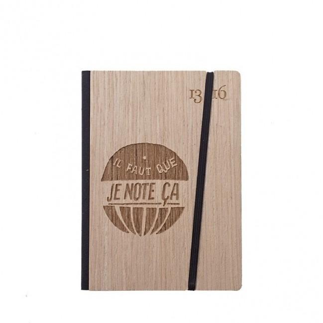 """Cahier """"il faut que je note ça"""", couverture rigide en bois de frêne , format de poche SMALL 11x15 cm"""