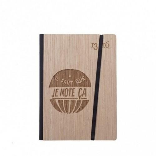 """Taccuino """"il faut que je note ça"""", copertina rigida in legno frassino, SMALL tascabile formato 11x15 cm"""