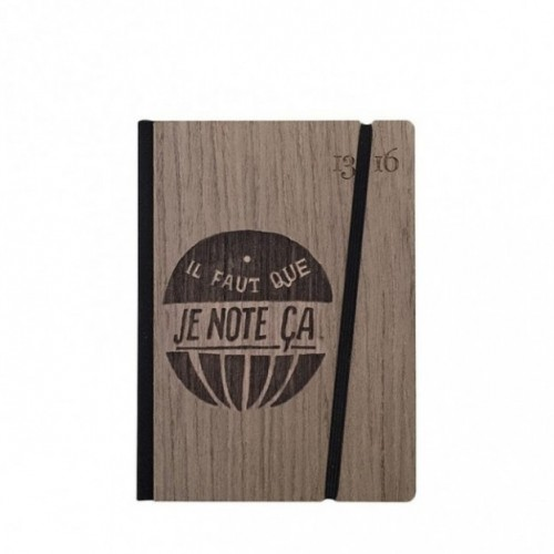 """Taccuino """"il faut que je note ça"""", copertina rigida in legno palissandro, SMALL tascabile formato 11x15 cm"""