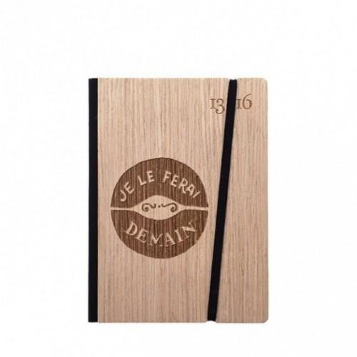 """Taccuino """"Je le ferai demain"""", copertina rigida in legno frassino, SMALL tascabile formato 11x15 cm"""