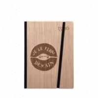 """Cahier """"Je le ferai demain"""", couverture rigide en bois de frêne , format de poche SMALL 11x15 cm"""