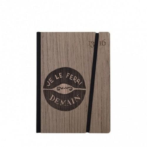 """Taccuino """"Je le ferai demain"""", copertina rigida in legno palissandro , SMALL tascabile formato 11x15 cm"""
