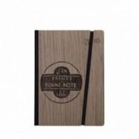 """Cahier """"J'en prends bonne note"""", couverture rigide en bois de palissandre, format de poche SMALL 11x15 cm"""