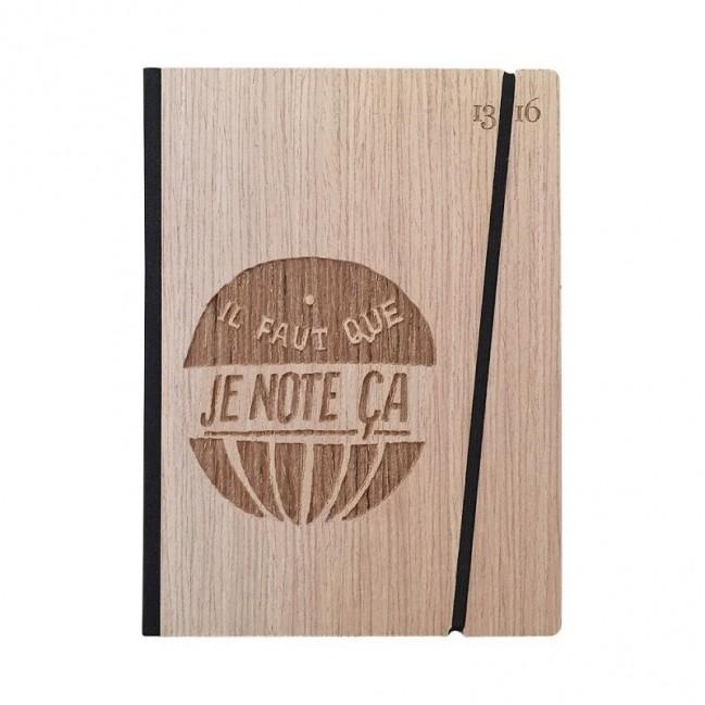 """Cahier """"il faut que je note ça"""", couverture rigide en bois de frêne, format de poche LARGE, 16x21,15 cm"""