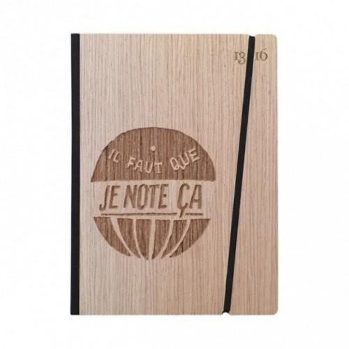 """Taccuino """"il faut que je note ça"""", copertina rigida in legno essenza frassino, formato LARGE 16x21,7 cm"""