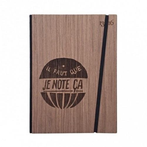"""Taccuino """"il faut que je note ça"""", copertina rigida in legno essenza palissandro, formato LARGE 16x21,7 cm"""