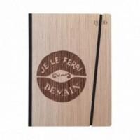 """Cahier """"Je le ferai demain"""", couverture rigide en bois de frêne, format de poche LARGE, 16x21,15 cm"""