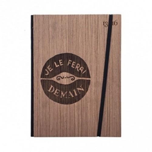 """Taccuino """"Je le ferai demain"""", copertina rigida in legno essenza palissandro, formato LARGE 16x21,7 cm"""