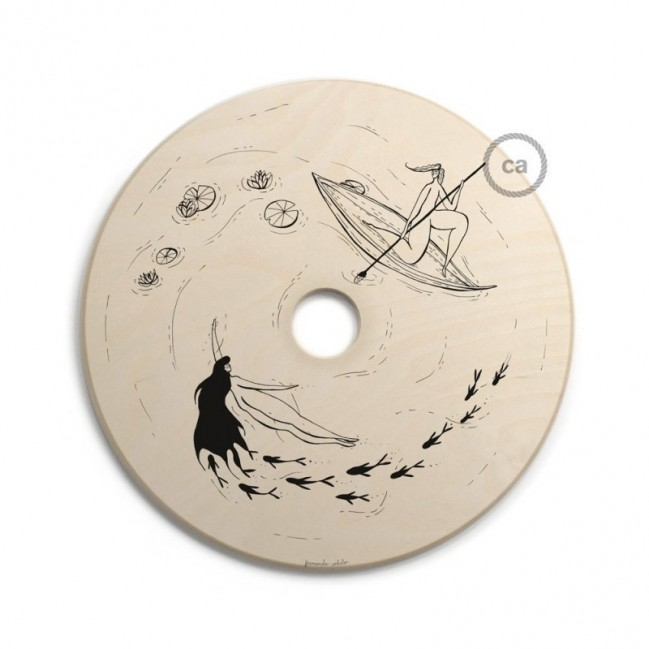 UFO - Unconventional flying object: Abat-jour en bois avec illustrations de Fernando Cobelo
