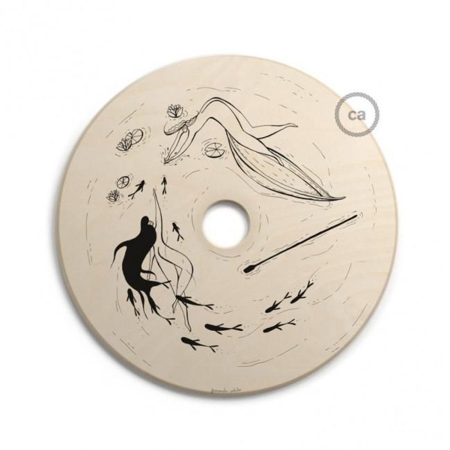 UFO - Unconventional flying object: paralume in legno con illustrazioni di Fernando Cobelo