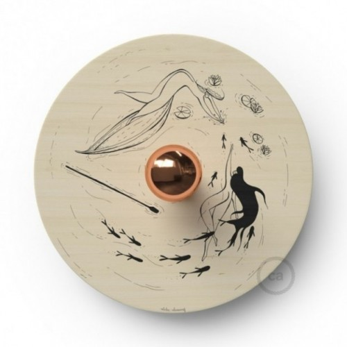 Fermaluce UFO con paralume in legno double-face illustrato da Fernando Cobelo