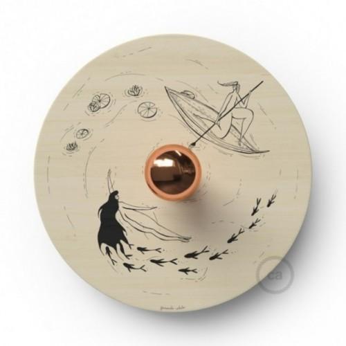 Fermaluce UFO avec abat-jour en bois double-face illustré par Fernando Cobelo