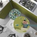 Sospensione UFO con paralume in legno double-face illustrato da Hikimi e cavo tessile RC30 Cotone Grigio Pietra