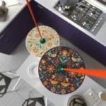 Suspension UFO avec abat-jour en bois double-face illustré par Francesco Poroli et câble textile RM15 Effet Soie Orange