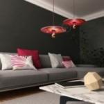 Suspension UFO avec abat-jour en bois double-face illustré par Pistrice et câble textile RC32 Coton Bordeaux