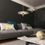 Suspension UFO avec abat-jour en bois double-face illustré par Gianfranco Setzu et câble textile RN06 Jute