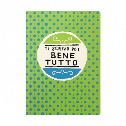 """Cahier A5 """"Ti scrivo poi bene tutto"""", 48 pages ivoire, lignes uniquement à droite"""