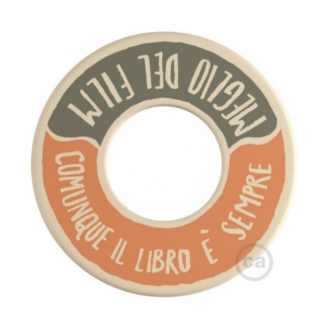 MINI-UFO in legno double-face collezione PALLE DA LETTURA, mod. GUERRA E PACE + MEGLIO DEL FILM