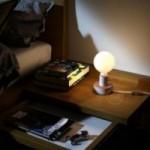 Posaluce con MINI-UFO collezione PALLE DA LETTURA, mod. PAGE + SCENT OF PAPER, con cavo, interruttore e spina a 2 poli