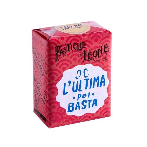"""Confezione Pastiglie Leone """"L'ultima poi basta"""" da 30g, caramelle senza glutine e senza coloranti artificiali"""