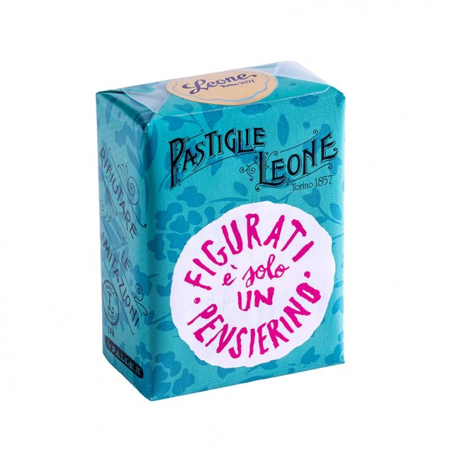 """Confezione Pastiglie Leone """"Figurati, è solo un pensierino"""" da 30g, caramelle senza glutine e senza coloranti artificiali"""