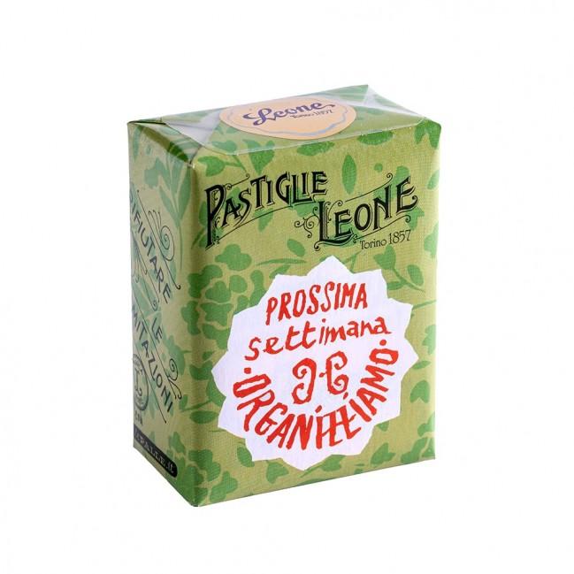 """Confezione Pastiglie Leone """"Prossima settimana organizziamo"""" da 30g, caramelle senza glutine e senza coloranti artificiali"""